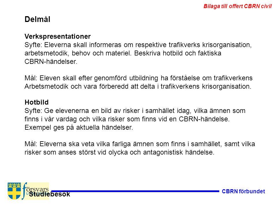 CBRN förbundet Delmål Verkspresentationer Syfte: Eleverna skall informeras om respektive trafikverks krisorganisation, arbetsmetodik, behov och materiel.