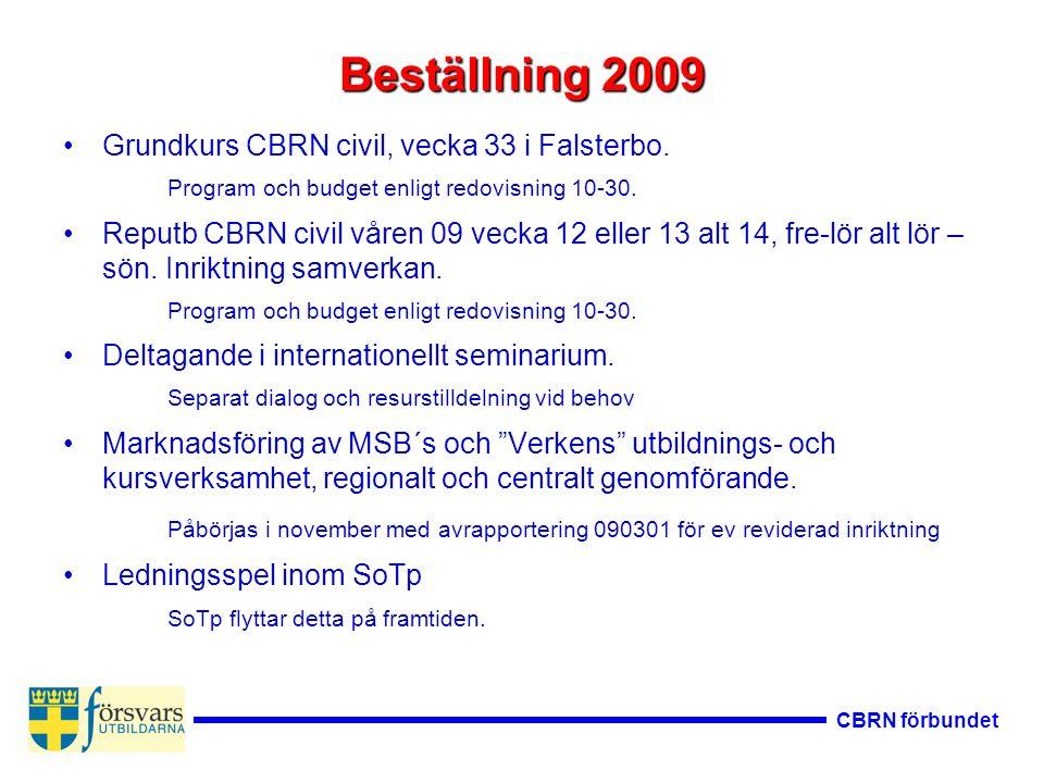 Beställning 2009 Grundkurs CBRN civil, vecka 33 i Falsterbo. Program och budget enligt redovisning 10-30. Reputb CBRN civil våren 09 vecka 12 eller 13