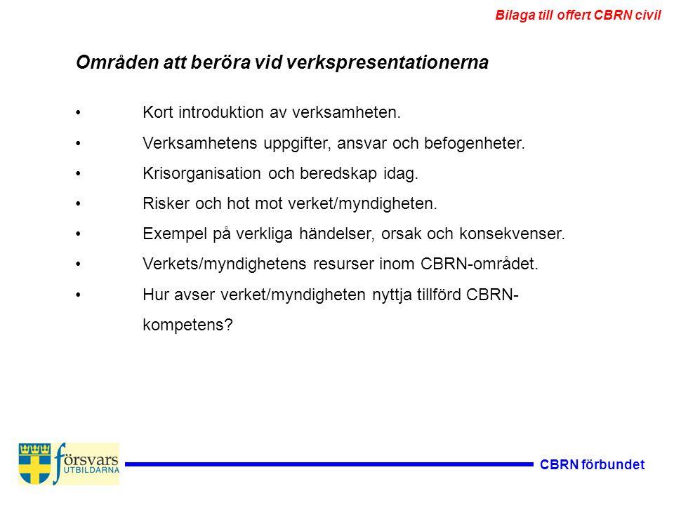 CBRN förbundet Områden att beröra vid verkspresentationerna Kort introduktion av verksamheten. Verksamhetens uppgifter, ansvar och befogenheter. Kriso