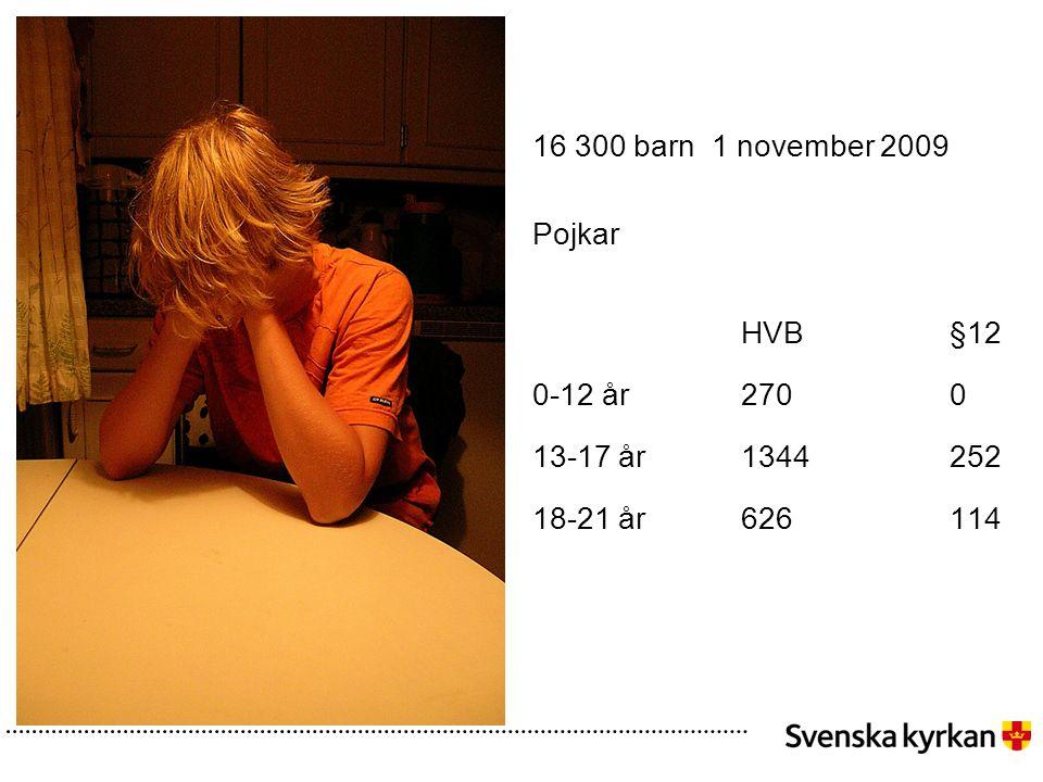 16 300 barn 1 november 2009 Pojkar HVB§12 0-12 år2700 13-17 år1344252 18-21 år626114