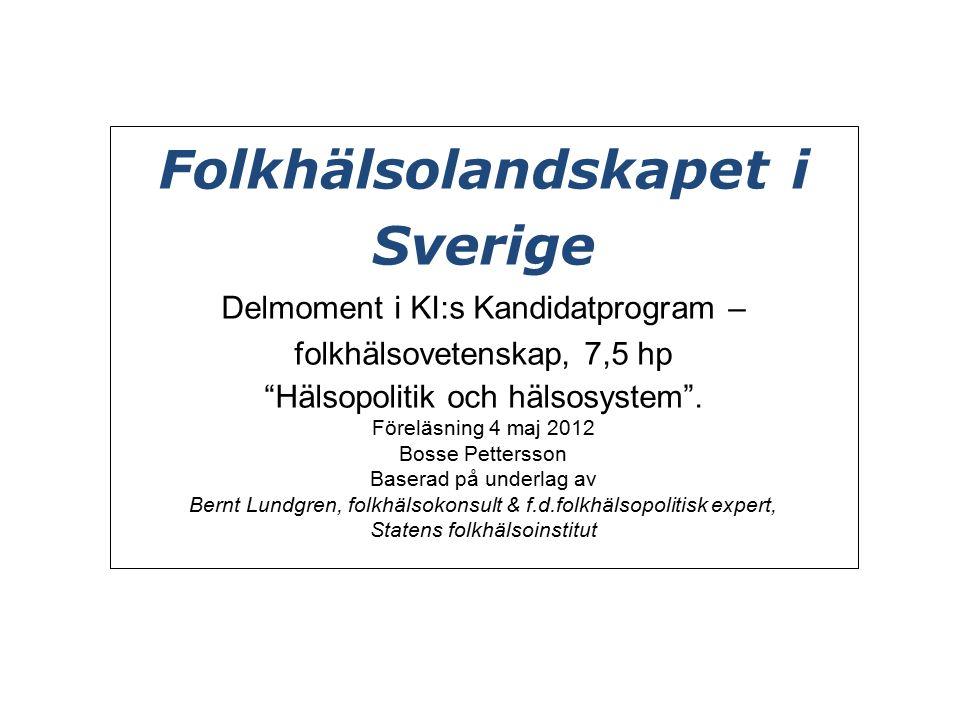 Folkhälsolandskapet i Sverige Delmoment i KI:s Kandidatprogram – folkhälsovetenskap, 7,5 hp Hälsopolitik och hälsosystem .