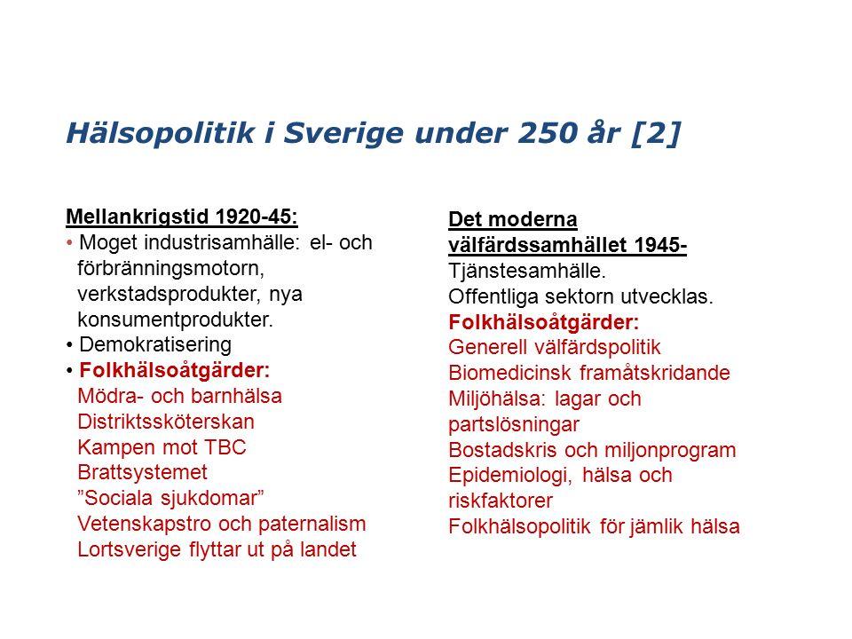 Hälsopolitik i Sverige under 250 år [2] Mellankrigstid 1920-45: Moget industrisamhälle: el- och förbränningsmotorn, verkstadsprodukter, nya konsumentprodukter.