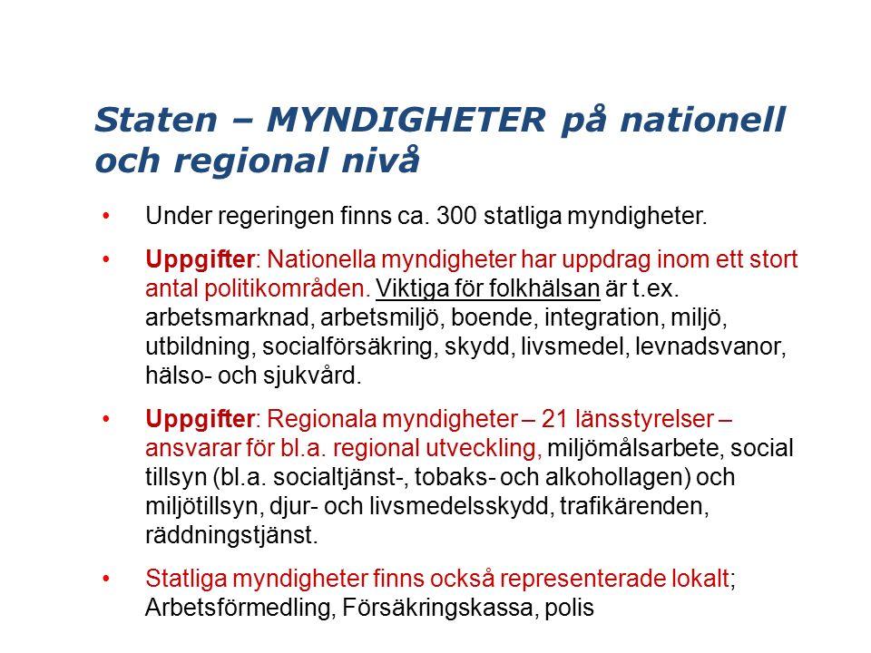 Staten – MYNDIGHETER på nationell och regional nivå Under regeringen finns ca.
