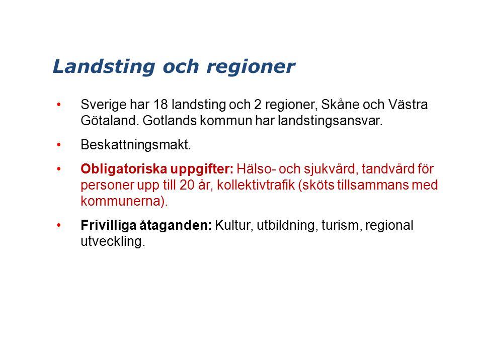 Landsting och regioner Sverige har 18 landsting och 2 regioner, Skåne och Västra Götaland.