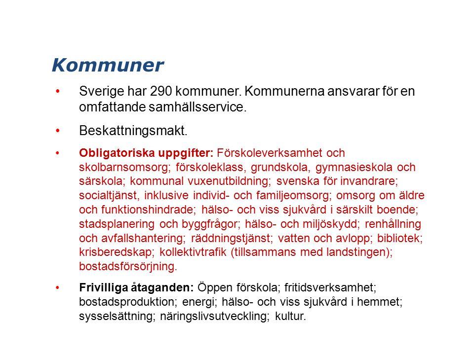 Kommuner Sverige har 290 kommuner. Kommunerna ansvarar för en omfattande samhällsservice.