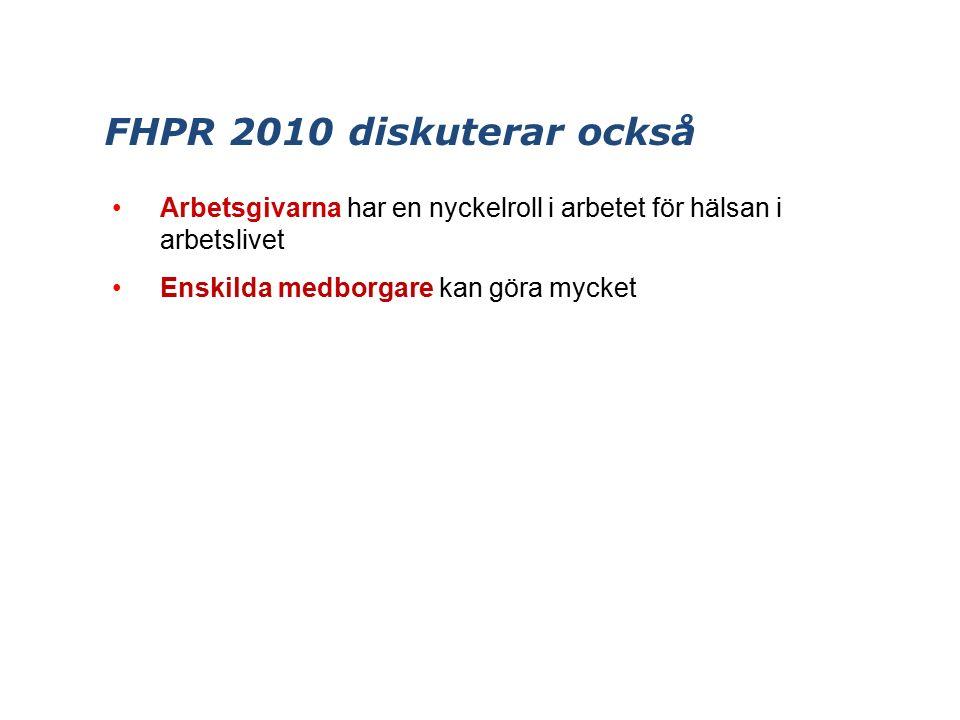 FHPR 2010 diskuterar också Arbetsgivarna har en nyckelroll i arbetet för hälsan i arbetslivet Enskilda medborgare kan göra mycket