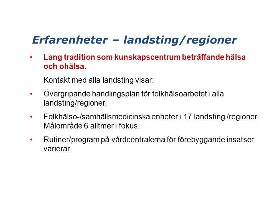 Erfarenheter – landsting/regioner Lång tradition som kunskapscentrum beträffande hälsa och ohälsa.