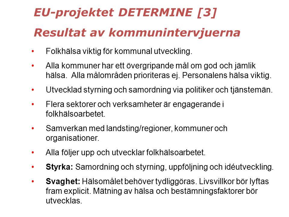 EU-projektet DETERMINE [3] Resultat av kommunintervjuerna Folkhälsa viktig för kommunal utveckling.
