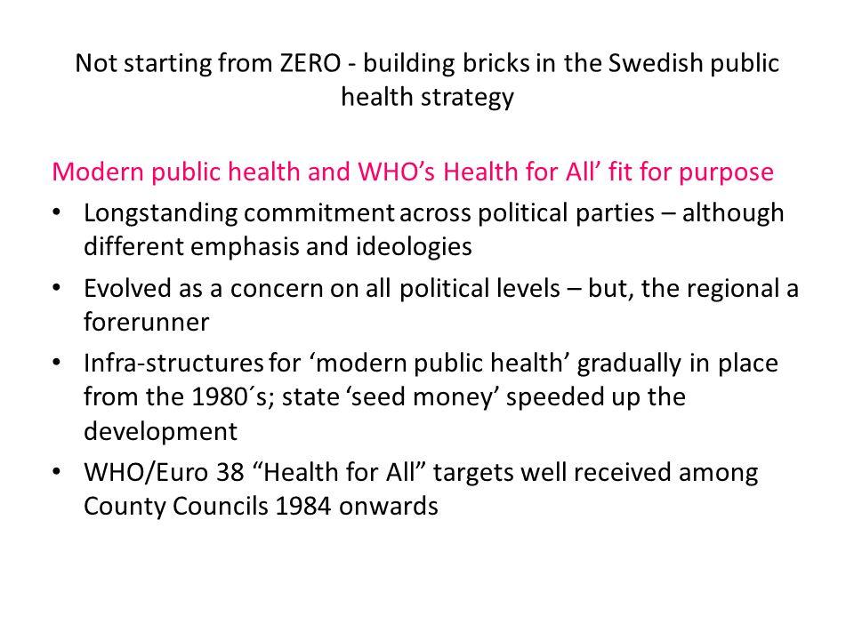 Politikområden som påverkar hälsa och ojämlik hälsa Ett universellt välfärdssystem: Full sysselsättning som åtagande, unversalism som politiskt mål, liten inkomstspridning, tjänster av hög kvalitet.