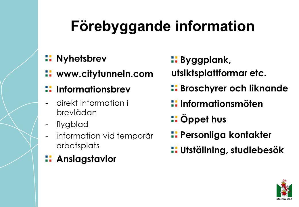 Förebyggande information Nyhetsbrev www.citytunneln.com Informationsbrev - direkt information i brevlådan -flygblad -information vid temporär arbetsplats Anslagstavlor Byggplank, utsiktsplattformar etc.