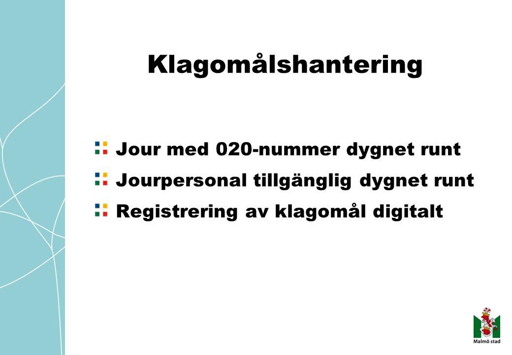 Klagomålshantering Jour med 020-nummer dygnet runt Jourpersonal tillgänglig dygnet runt Registrering av klagomål digitalt