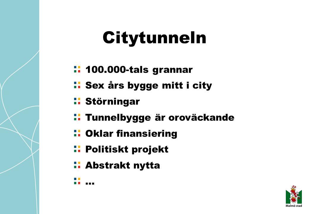 Citytunneln 100.000-tals grannar Sex års bygge mitt i city Störningar Tunnelbygge är oroväckande Oklar finansiering Politiskt projekt Abstrakt nytta …