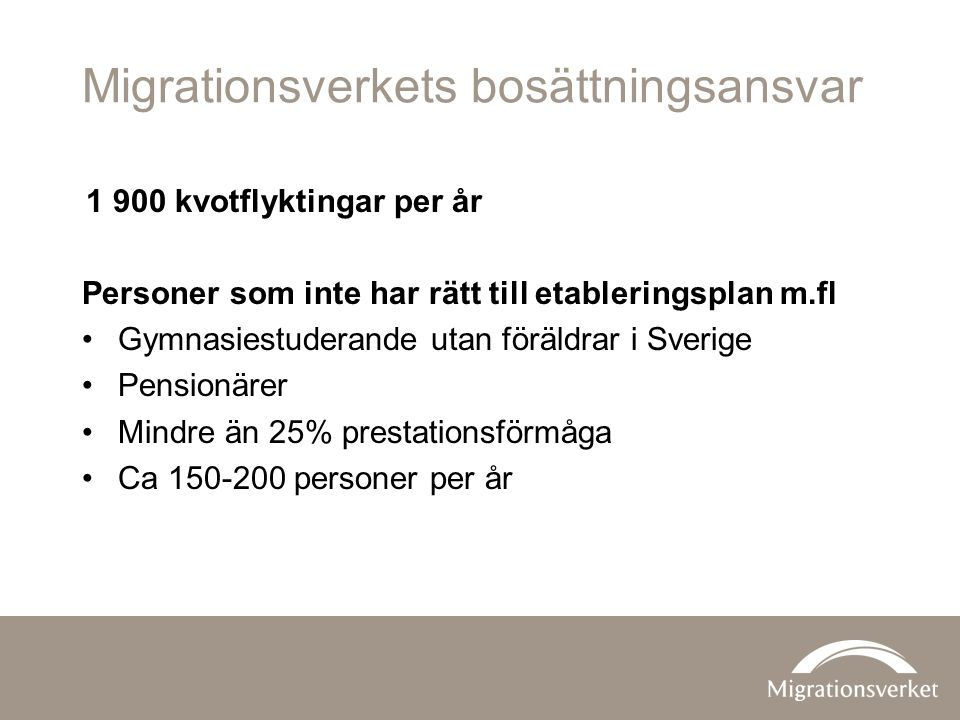 Migrationsverkets bosättningsansvar 1 900 kvotflyktingar per år Personer som inte har rätt till etableringsplan m.fl Gymnasiestuderande utan föräldrar i Sverige Pensionärer Mindre än 25% prestationsförmåga Ca 150-200 personer per år