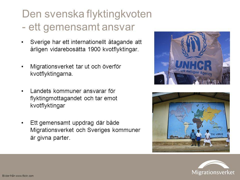Den svenska flyktingkvoten - ett gemensamt ansvar Sverige har ett internationellt åtagande att årligen vidarebosätta 1900 kvotflyktingar.