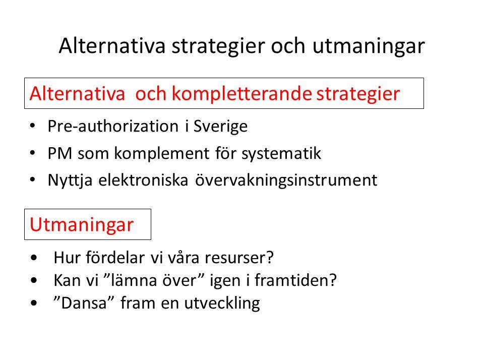 Alternativa strategier och utmaningar Pre-authorization i Sverige PM som komplement för systematik Nyttja elektroniska övervakningsinstrument Alternativa och kompletterande strategier Hur fördelar vi våra resurser.