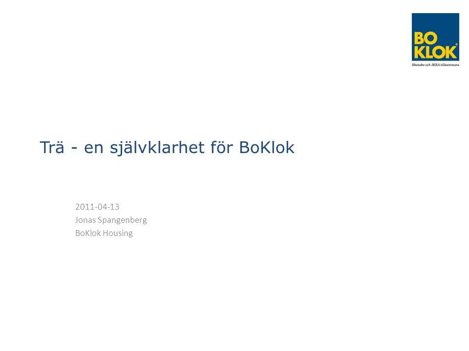 Trä - en självklarhet för BoKlok 2011-04-13 Jonas Spangenberg BoKlok Housing