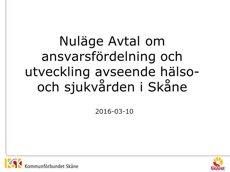Nuläge Avtal om ansvarsfördelning och utveckling avseende hälso- och sjukvården i Skåne 2016-03-10