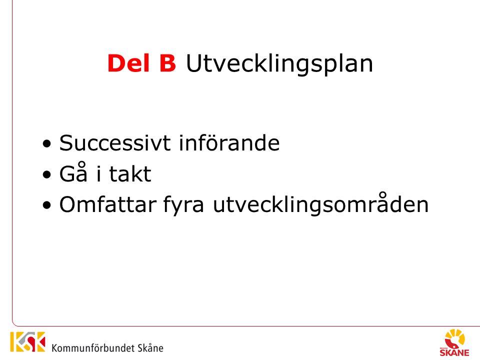 Del B Utvecklingsplan Successivt införande Gå i takt Omfattar fyra utvecklingsområden