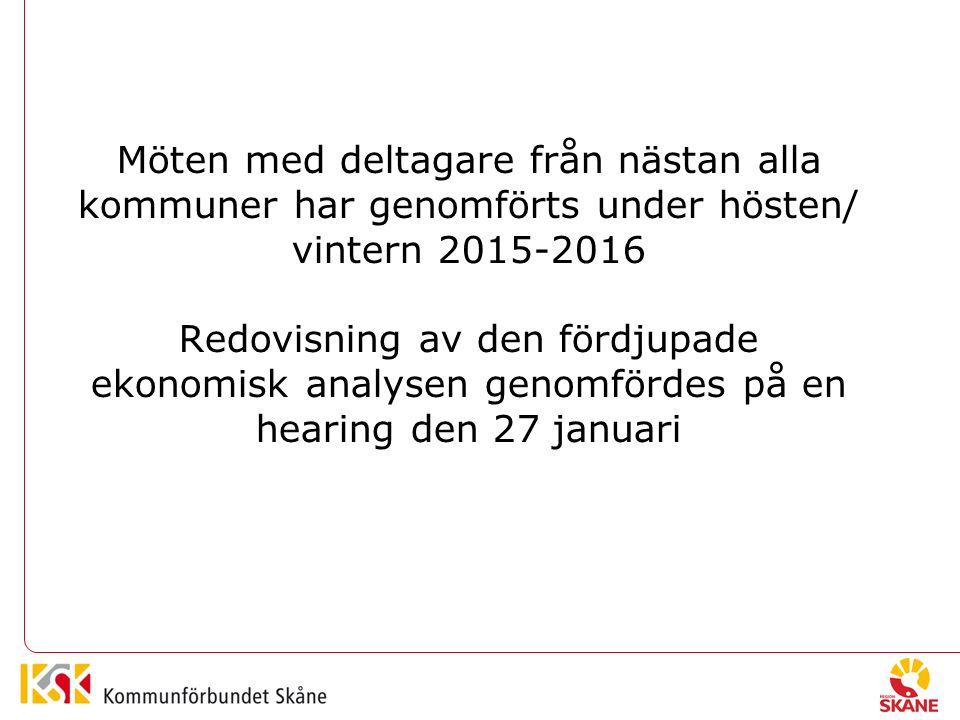 Möten med deltagare från nästan alla kommuner har genomförts under hösten/ vintern 2015-2016 Redovisning av den fördjupade ekonomisk analysen genomfördes på en hearing den 27 januari