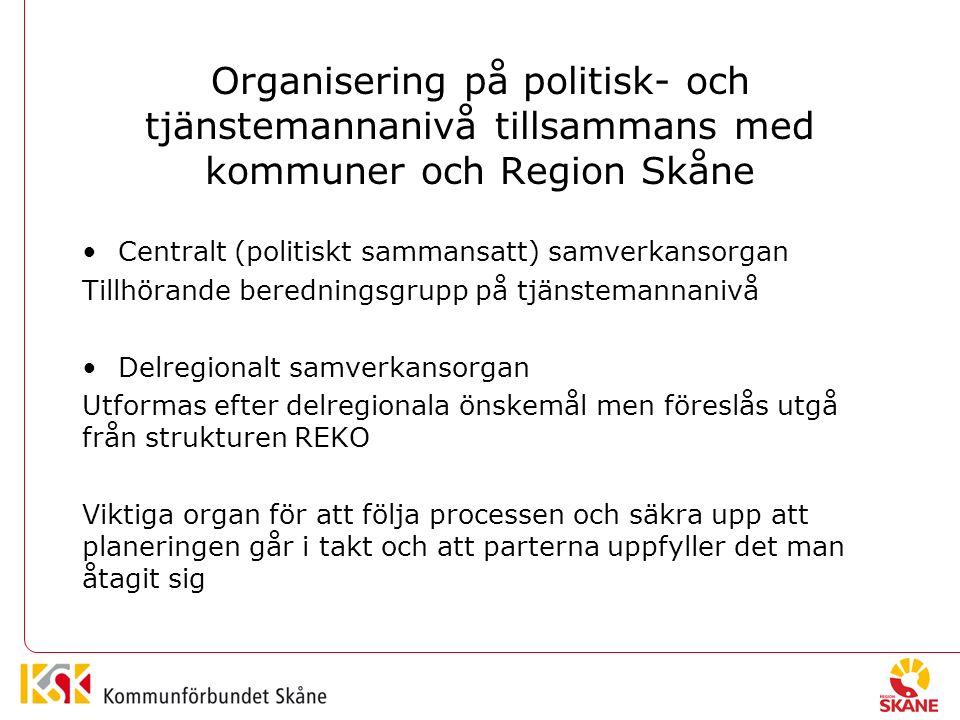 Organisering på politisk- och tjänstemannanivå tillsammans med kommuner och Region Skåne Centralt (politiskt sammansatt) samverkansorgan Tillhörande beredningsgrupp på tjänstemannanivå Delregionalt samverkansorgan Utformas efter delregionala önskemål men föreslås utgå från strukturen REKO Viktiga organ för att följa processen och säkra upp att planeringen går i takt och att parterna uppfyller det man åtagit sig