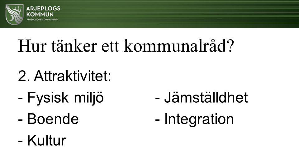 Hur tänker ett kommunalråd? 2. Attraktivitet: - Fysisk miljö - Boende - Kultur - Jämställdhet - Integration