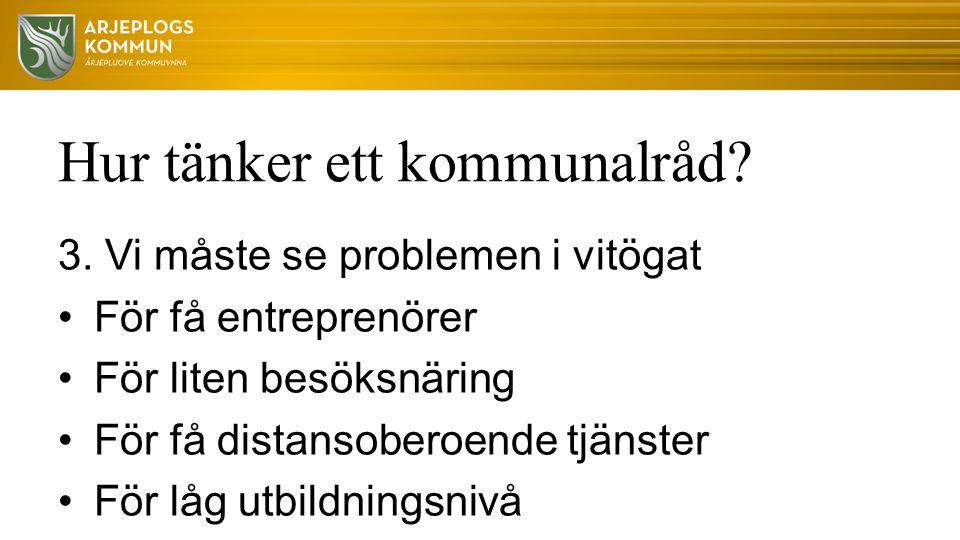 Hur tänker ett kommunalråd? 3. Vi måste se problemen i vitögat För få entreprenörer För liten besöksnäring För få distansoberoende tjänster För låg ut