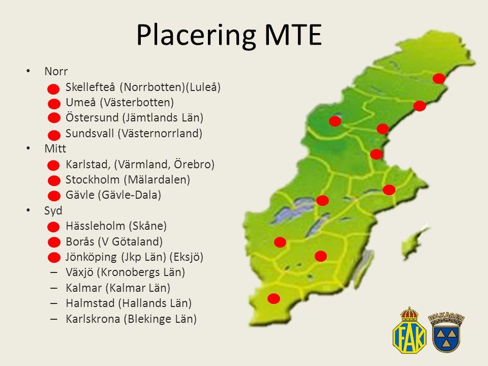 Placering MTE Norr – Skellefteå (Norrbotten)(Luleå) – Umeå (Västerbotten) – Östersund (Jämtlands Län) – Sundsvall (Västernorrland) Mitt – Karlstad, (Värmland, Örebro) – Stockholm (Mälardalen) – Gävle (Gävle-Dala) Syd – Hässleholm (Skåne) – Borås (V Götaland) – Jönköping (Jkp Län) (Eksjö) – Växjö (Kronobergs Län) – Kalmar (Kalmar Län) – Halmstad (Hallands Län) – Karlskrona (Blekinge Län)
