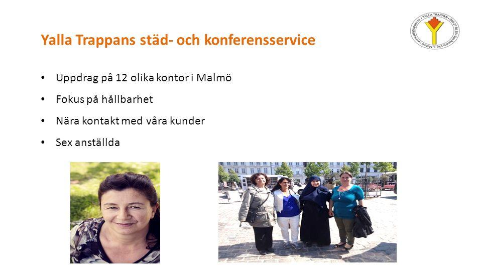 Yalla Trappans städ- och konferensservice Uppdrag på 12 olika kontor i Malmö Fokus på hållbarhet Nära kontakt med våra kunder Sex anställda