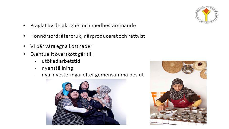 Yallas ambassadörer 1 januari - 31 december 2014 Zeina Doulani Fatma el Zein Taghrid el Ali Fatme Ibrahim Syfte: att bidra till strukturella förändringar på arbetsmarknaden i riktning mot en mer inkluderande arbetsmarknad där fler människors kompetens och kreativitet tas tillvara Målsättningar: att förmedla kunskap om socialt företagande till aktörer med intresse av att medverka till att nya arbetsintegrerande sociala företag startas att inspirera blivande medarbetare i arbetsintegrerande sociala företag Genomförs i samverkan med Mera Yalla i Skåne.