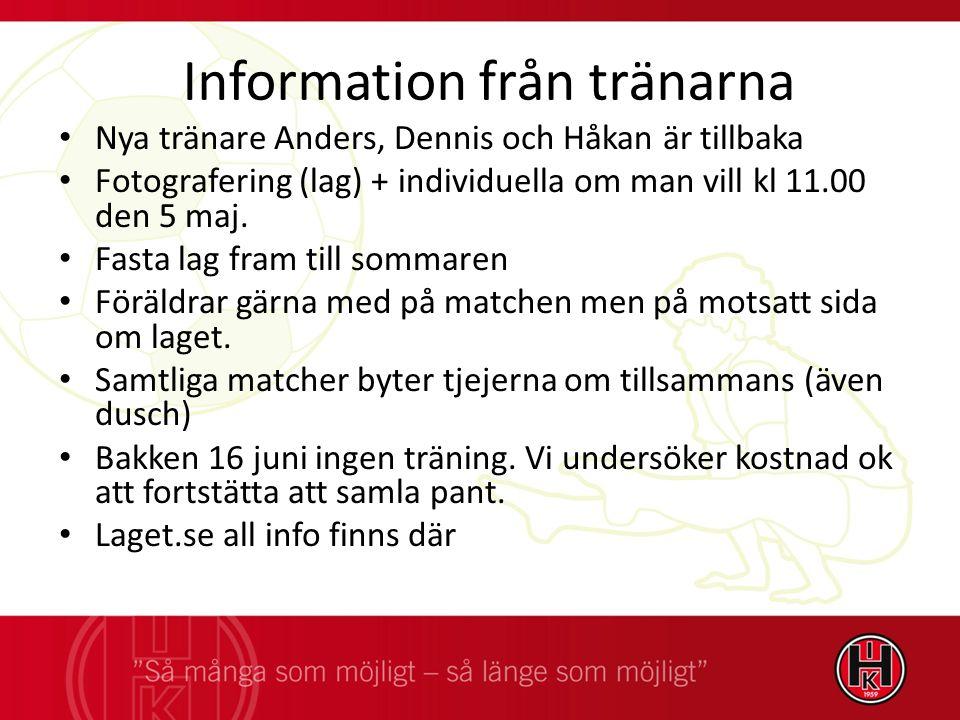 Information från tränarna Nya tränare Anders, Dennis och Håkan är tillbaka Fotografering (lag) + individuella om man vill kl 11.00 den 5 maj.