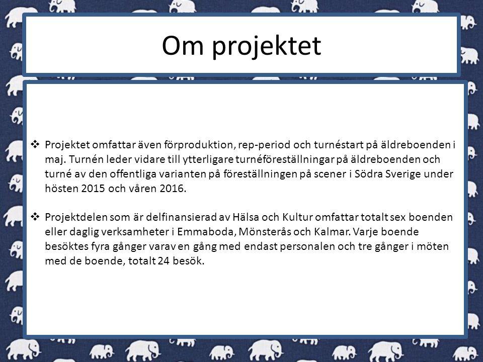 Om projektet  Projektet omfattar även förproduktion, rep-period och turnéstart på äldreboenden i maj.