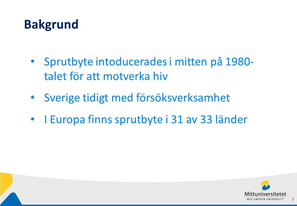 2 Bakgrund Sprutbyte intoducerades i mitten på 1980- talet för att motverka hiv Sverige tidigt med försöksverksamhet I Europa finns sprutbyte i 31 av 33 länder