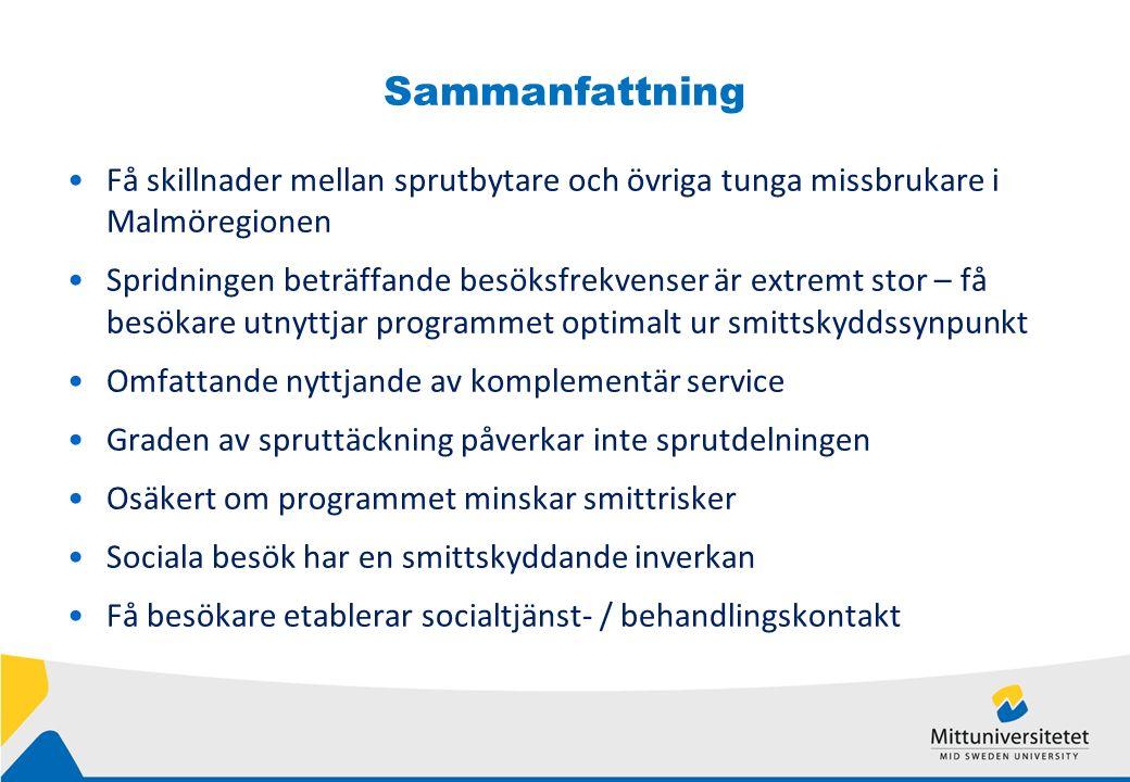 Sammanfattning Få skillnader mellan sprutbytare och övriga tunga missbrukare i Malmöregionen Spridningen beträffande besöksfrekvenser är extremt stor – få besökare utnyttjar programmet optimalt ur smittskyddssynpunkt Omfattande nyttjande av komplementär service Graden av spruttäckning påverkar inte sprutdelningen Osäkert om programmet minskar smittrisker Sociala besök har en smittskyddande inverkan Få besökare etablerar socialtjänst- / behandlingskontakt