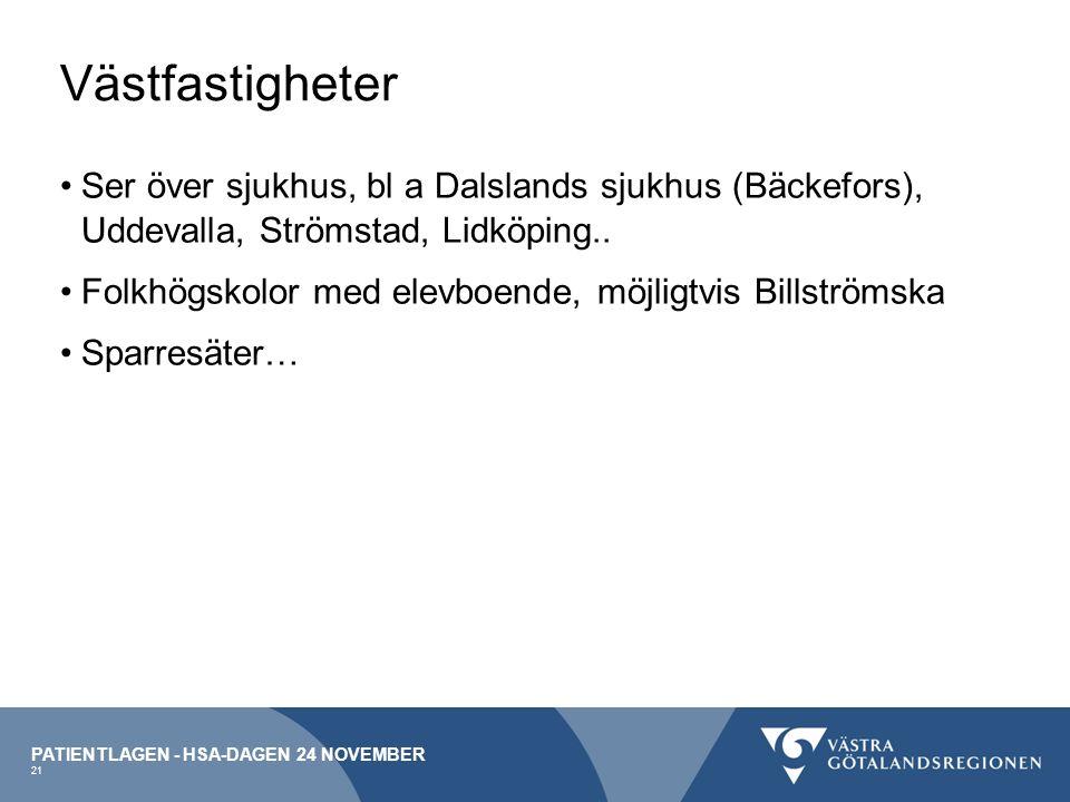 Västfastigheter Ser över sjukhus, bl a Dalslands sjukhus (Bäckefors), Uddevalla, Strömstad, Lidköping..