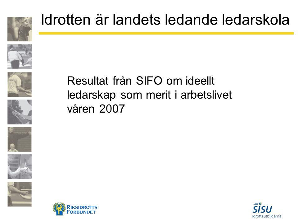 Idrotten är landets ledande ledarskola Resultat från SIFO om ideellt ledarskap som merit i arbetslivet våren 2007