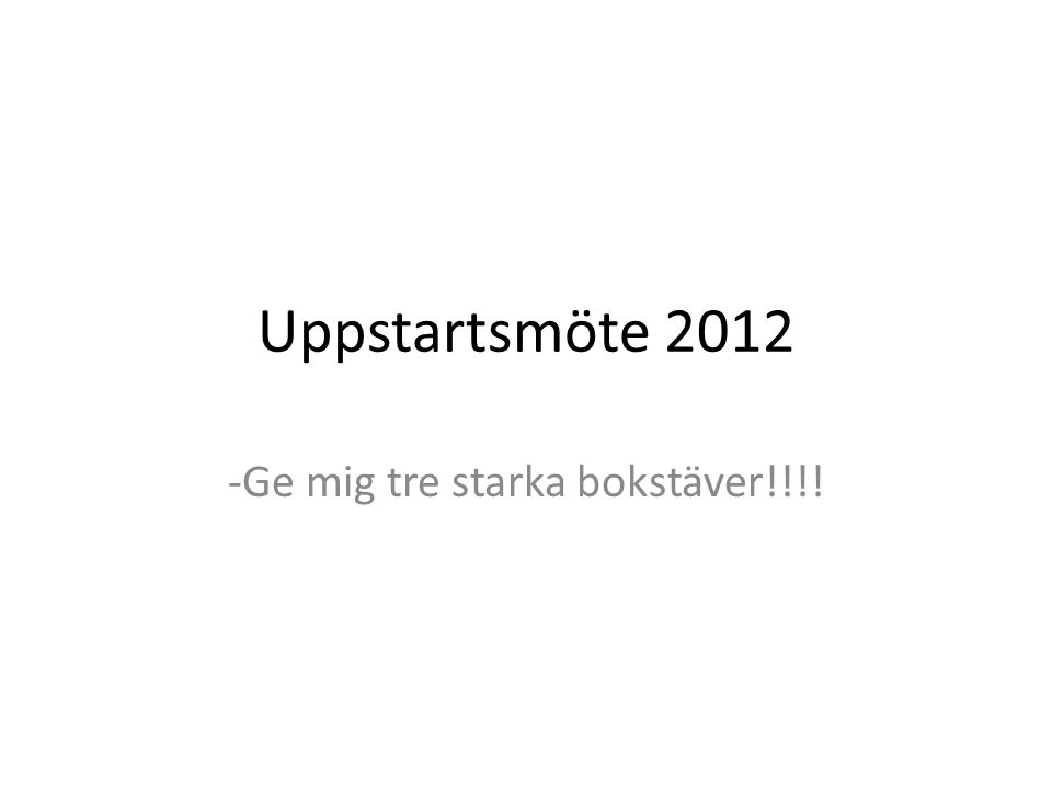 Uppstartsmöte 2012 -Ge mig tre starka bokstäver!!!!
