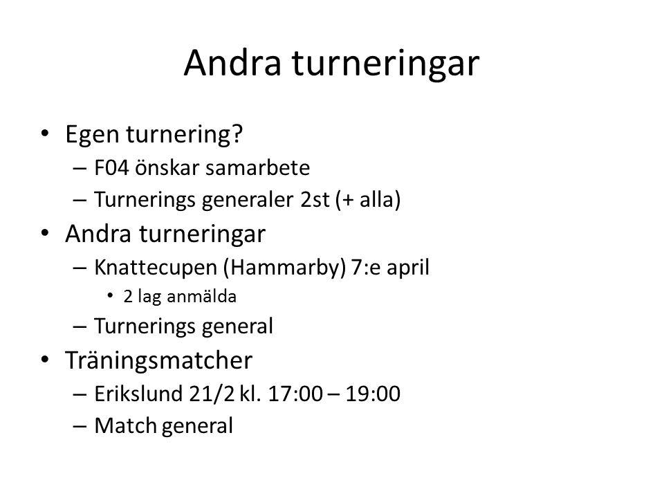 Andra turneringar Egen turnering.