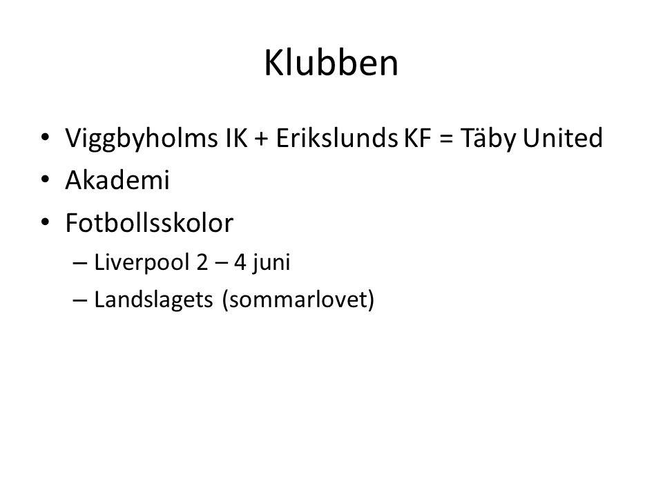 Klubben Viggbyholms IK + Erikslunds KF = Täby United Akademi Fotbollsskolor – Liverpool 2 – 4 juni – Landslagets (sommarlovet)