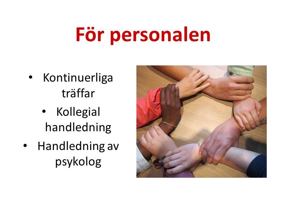 För personalen Kontinuerliga träffar Kollegial handledning Handledning av psykolog