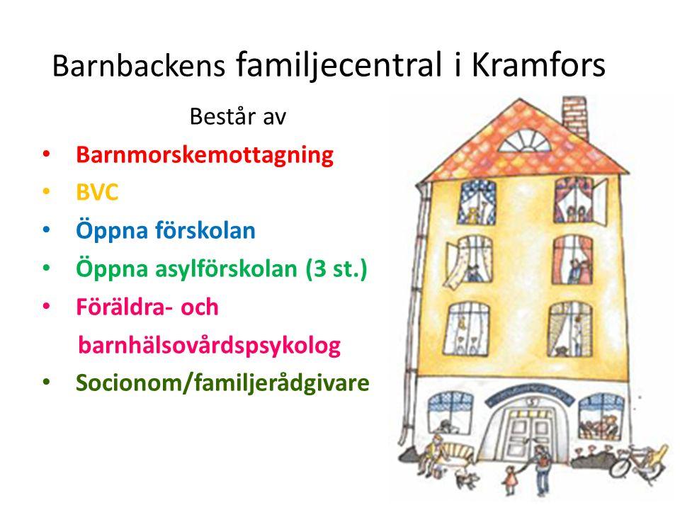 Barnbackens familjecentral i Kramfors Består av Barnmorskemottagning BVC Öppna förskolan Öppna asylförskolan (3 st.) Föräldra- och barnhälsovårdspsykolog Socionom/familjerådgivare