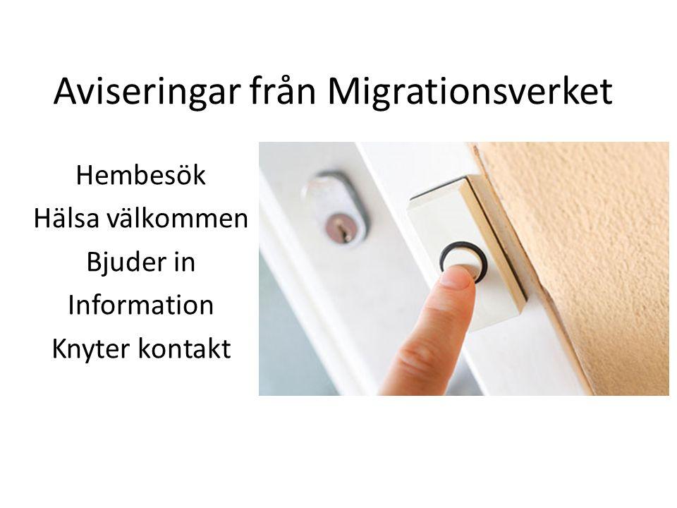 Aviseringar från Migrationsverket Hembesök Hälsa välkommen Bjuder in Information Knyter kontakt
