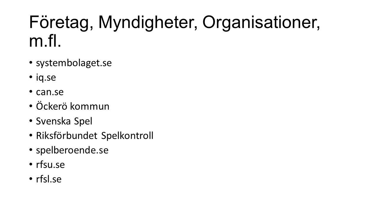 Företag, Myndigheter, Organisationer, m.fl.