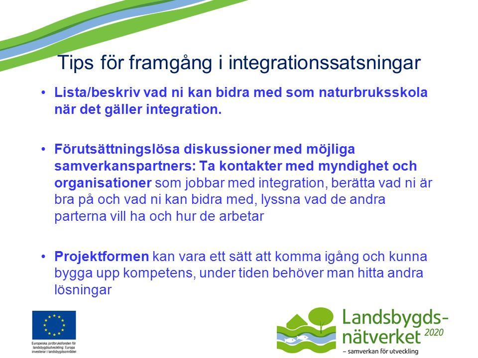 Tips för framgång i integrationssatsningar Lista/beskriv vad ni kan bidra med som naturbruksskola när det gäller integration.