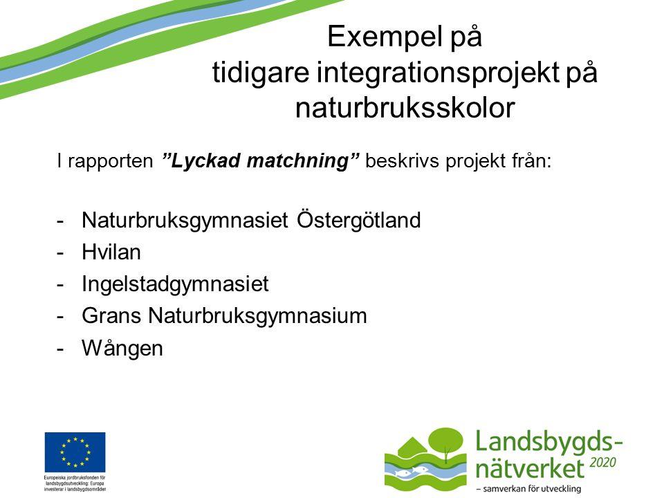 Exempel på tidigare integrationsprojekt på naturbruksskolor I rapporten Lyckad matchning beskrivs projekt från: -Naturbruksgymnasiet Östergötland -Hvilan -Ingelstadgymnasiet -Grans Naturbruksgymnasium -Wången