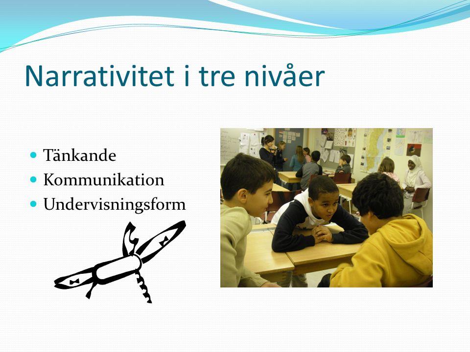Narrativitet i tre nivåer Tänkande Kommunikation Undervisningsform