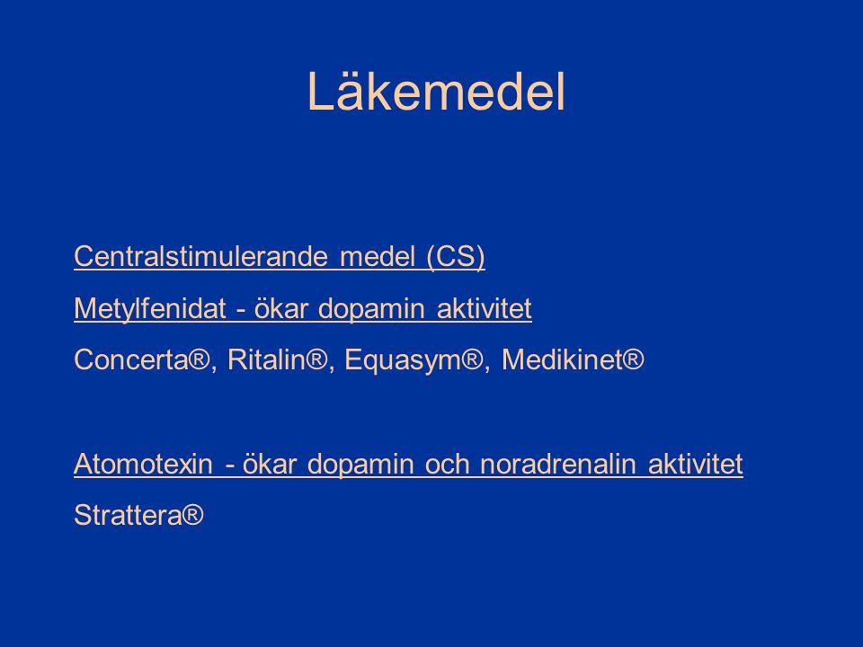 Läkemedel Centralstimulerande medel (CS) Metylfenidat - ökar dopamin aktivitet Concerta®, Ritalin®, Equasym®, Medikinet® Atomotexin - ökar dopamin och noradrenalin aktivitet Strattera®