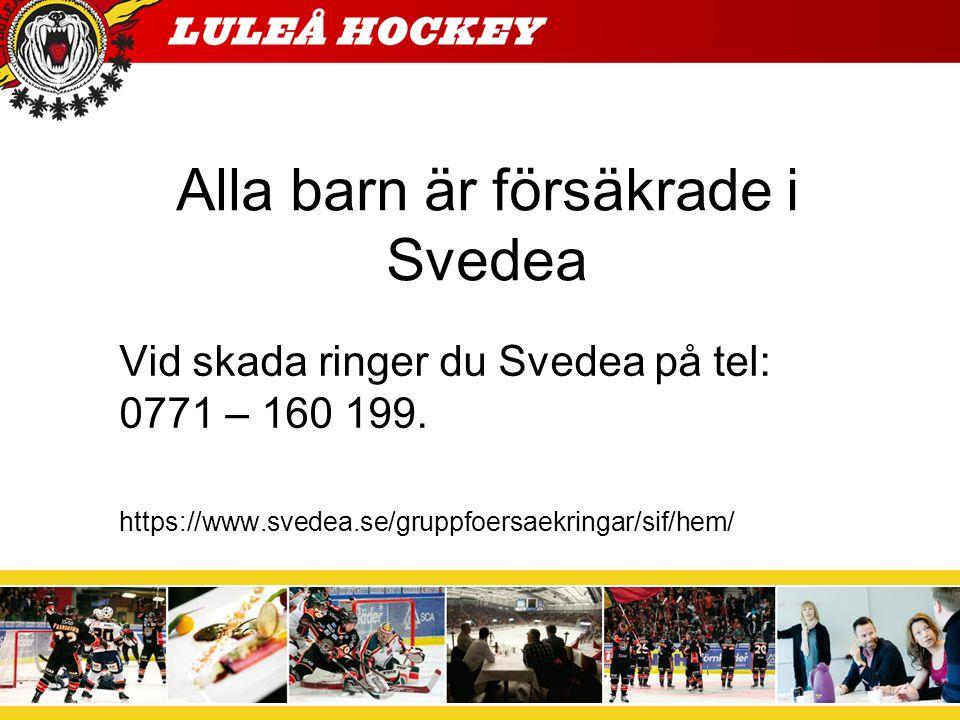 Alla barn är försäkrade i Svedea Vid skada ringer du Svedea på tel: 0771 – 160 199.