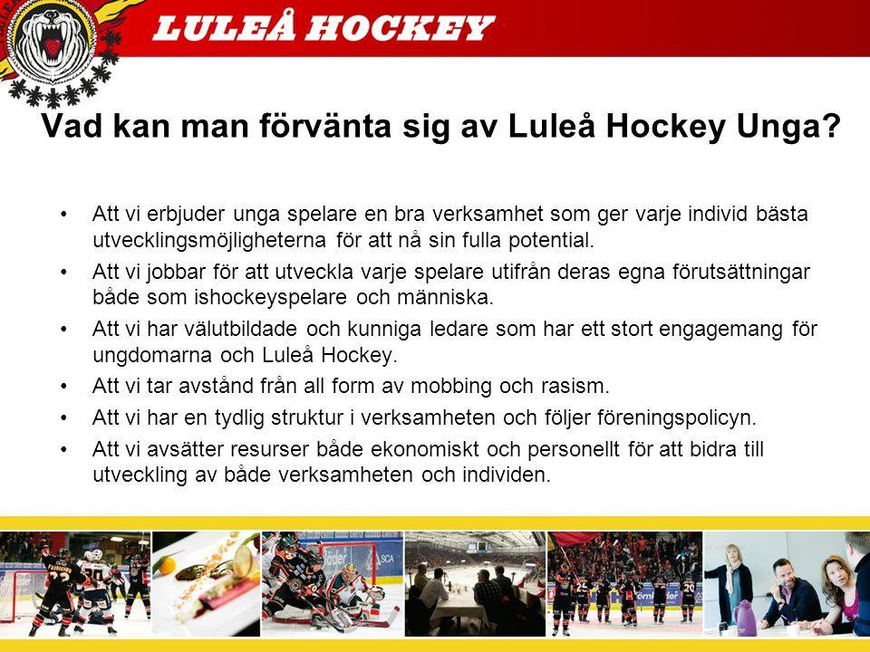 Luleå Hockey Ungas verksamheten Född -09 och yngre Tre Kronors Hockeyskola för de yngsta.