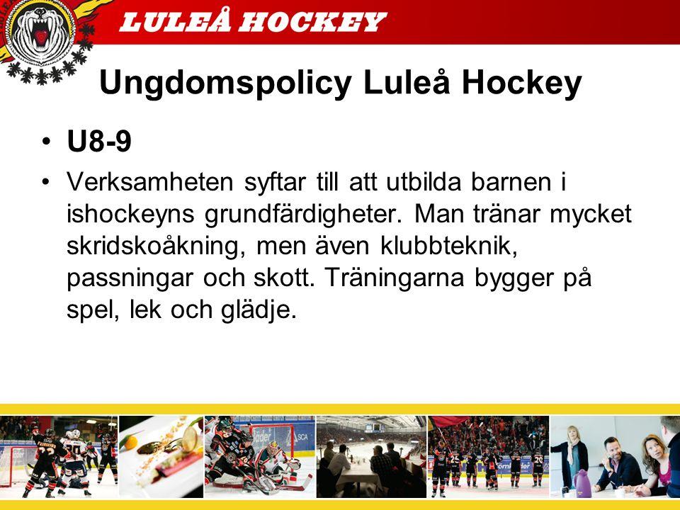 Målsättning med verksamheten för U8-9 - Ge alla chansen som vill börja spela ishockey.