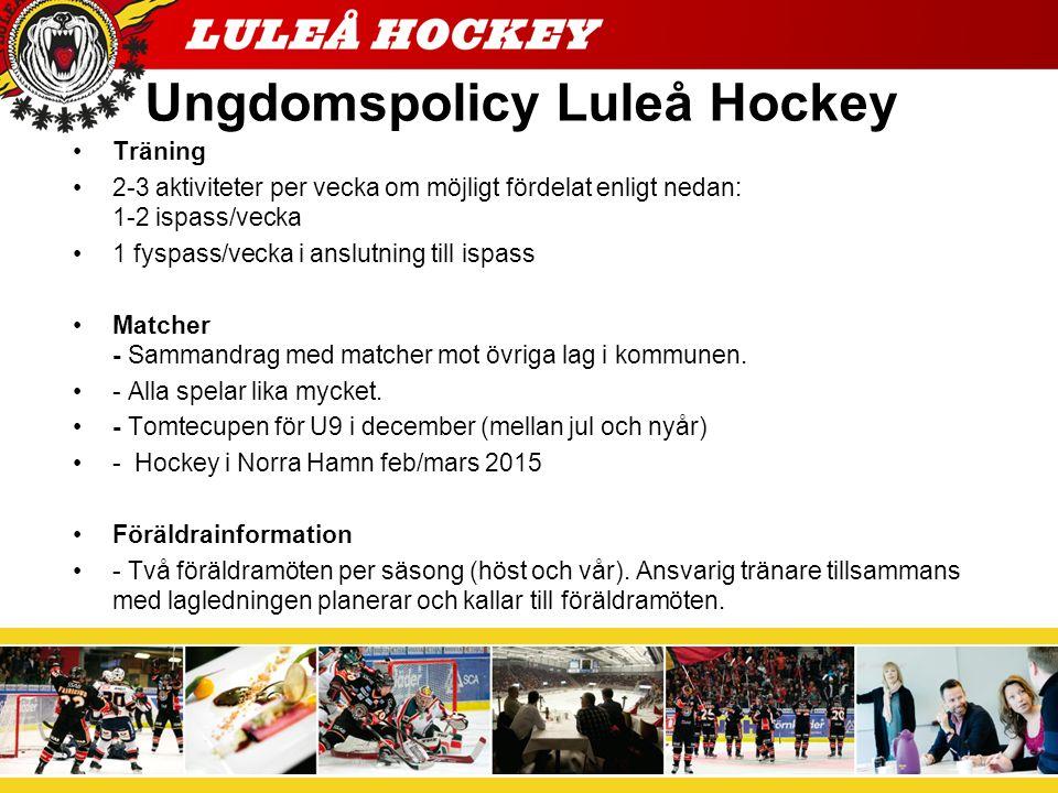 Ishockeyns ABC Utöver Ungdomspolicyn skall föreningens verksamhet bedrivas i enlighet med Ishockeyns ABC pärm som är Svenska Ishockeyförbundets riktlinjer för barn- och ungdomsishockey.